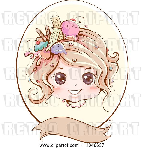 Vector Clip Art of Retro Styled Dirty Blond White Girl with Ice Cream and Sweets in Her Hair, Inside an Oval Frame with a Blank Banner