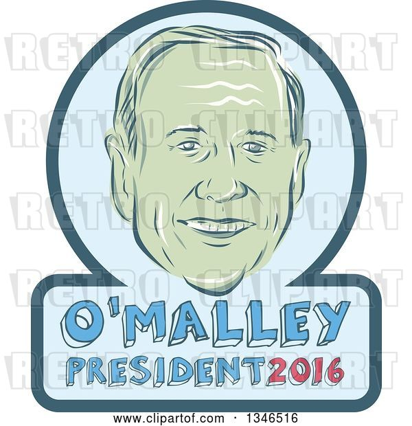 Vector Clip Art of Retro Styled Face of Martin O'Malley, 2016 Presidential Candidate, with Text in a Frame