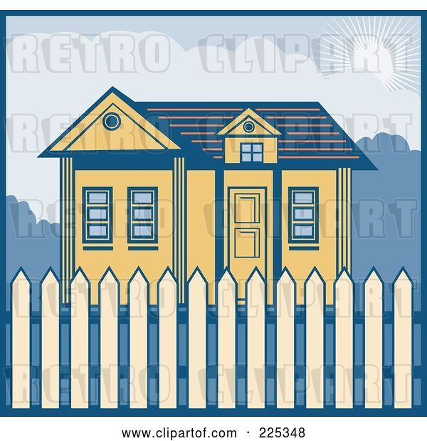 Vector Clip Art of Retro Styled House with a Picket Fence