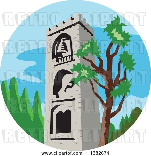Vector Clip Art of Retro Styled Medieval Bell Tower and Tree in a Circle