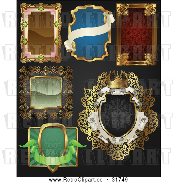 Vector Clip Art of Retro Styled Ornate Frames over Black Background: Digital Collage