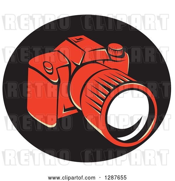 Vector Clip Art of Retro Styled Red DSLR Camera in a Black Oval