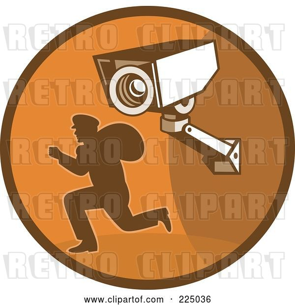 Vector Clip Art of Retro Styled Robber and Video Surveillance Logo