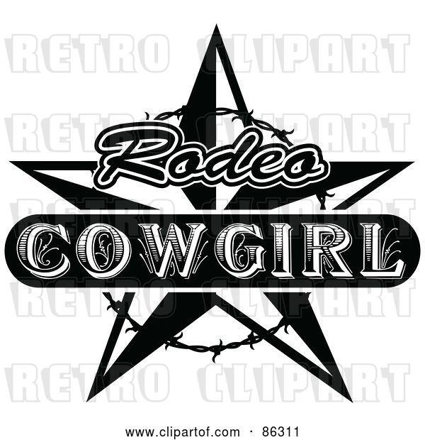 Vector Clip Art of Retro Styled Rodeo Cowgirl Star with Barbed Wire