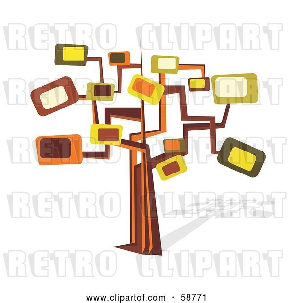 Vector Clip Art of Retro Styled Tree with Rectangle Branches