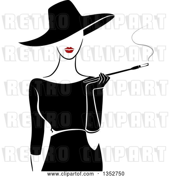 Vector Clip Art of Retro Stylish Lady Wearing a Hat and Black Dress, Smoking a Cigarette with a Long Filter