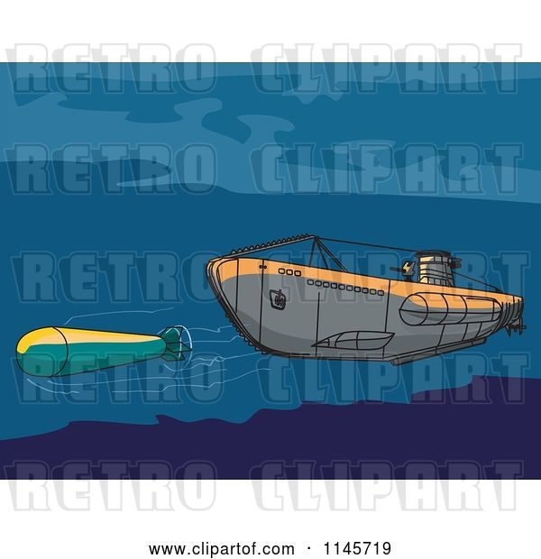 Vector Clip Art of Retro Submarine Launching an Underwater Missile