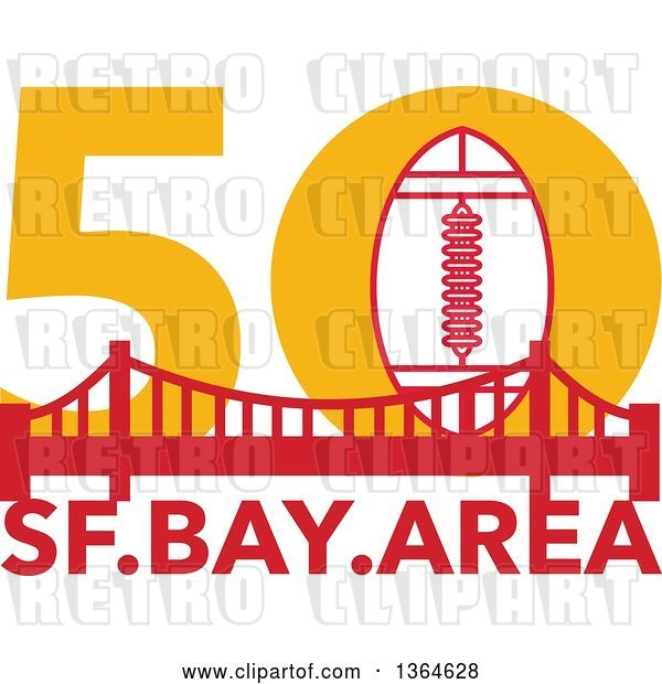 Vector Clip Art of Retro Super Bowl 50 Sports Design with a Football over the Golden Gate Bridge and Text
