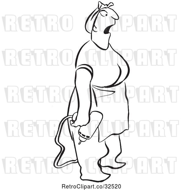 Vector Clip Art of Retro Surprised Lady with a Power Drill