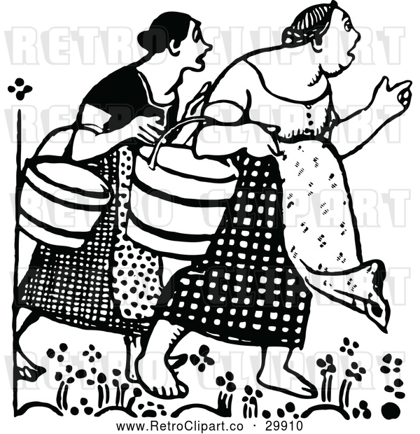 Vector Clip Art of Retro Surprised Women Carrying Buckets