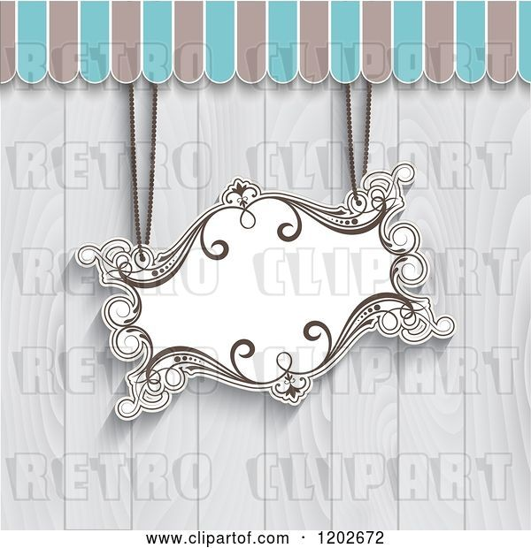 Vector Clip Art of Retro Suspended Sign over Gray Wooden Panels