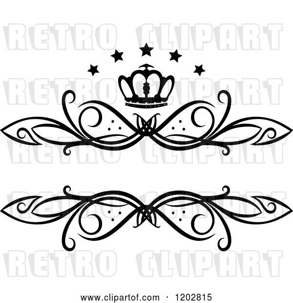 Vector Clip Art of Retro Swirl Frame with a Crown and Luxury Stars 2