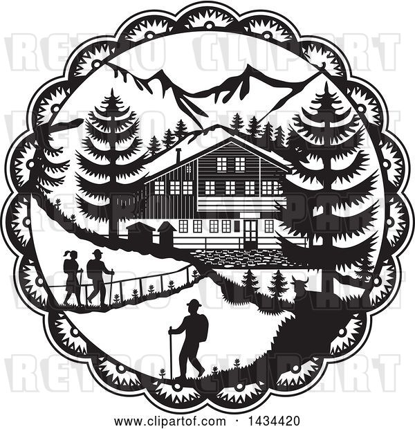 Vector Clip Art of Retro Swiss Decoupage Style Chalet in the Alps