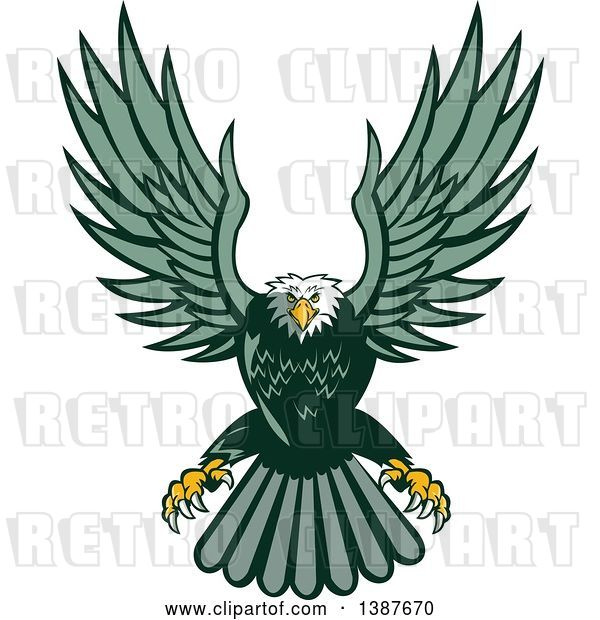 Vector Clip Art of Retro Swooping Green Bald Eagle