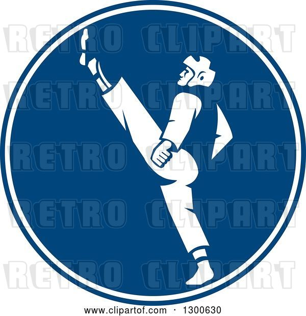 Vector Clip Art of Retro Taekwondo Fighter Kicking in a Blue and White Circle