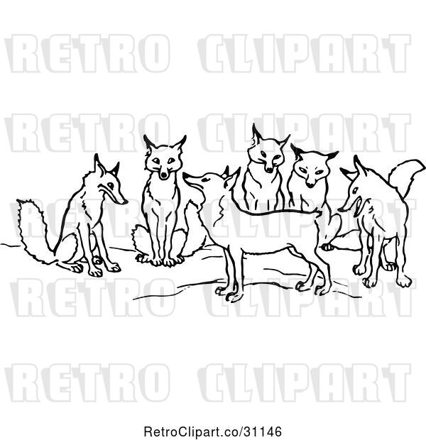 Vector Clip Art of Retro Tailless Fox and Group