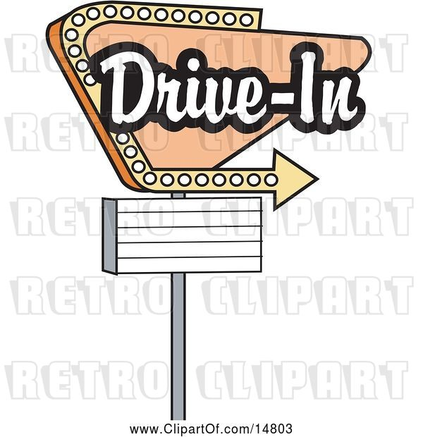 Vector Clip Art of Retro Tan Drive in Sign with an Arrow