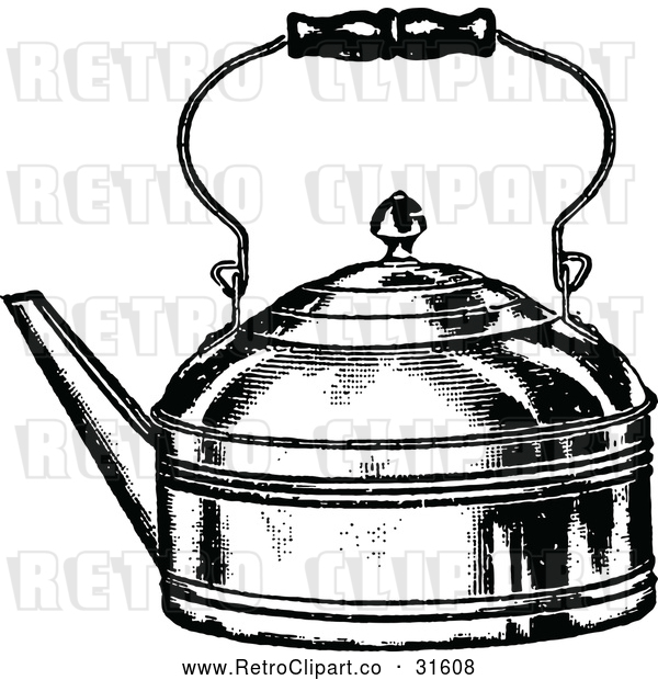 Vector Clip Art of Retro Tea Kettle