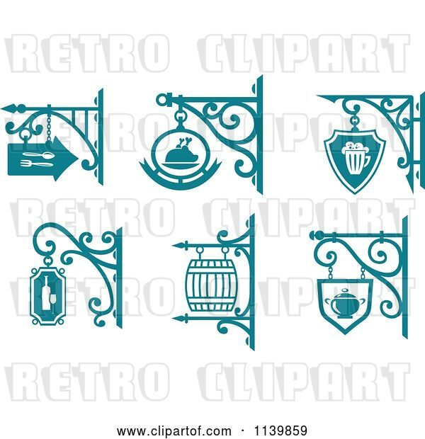 Vector Clip Art of Retro Teal Pub Cafe Restaurant Shingle Signs 2