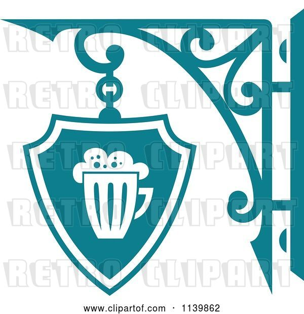 Vector Clip Art of Retro Teal Pub Shingle Sign 2