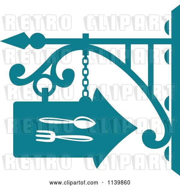 Vector Clip Art of Retro Teal Restaurant Diner Shingle Sign 6