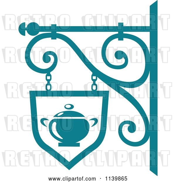 Vector Clip Art of Retro Teal Restaurant Diner Shingle Sign 8