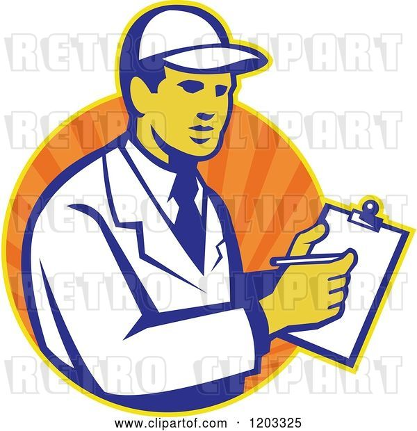 Vector Clip Art of Retro Technician Writing on a Clipboard over an Orange Circle of Rays| Royalty Free Vector Illustration