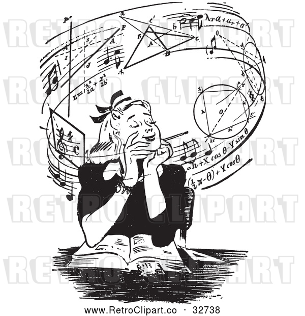 Vector Clip Art of Retro Teen Girl Daydreaming of Music and Mathmatics over a Book in Black and White