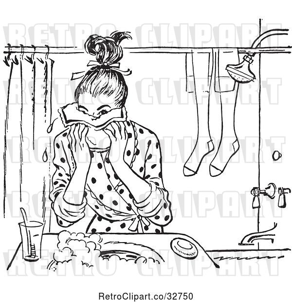 Vector Clip Art of Retro Teen Girl Washing Her Face in