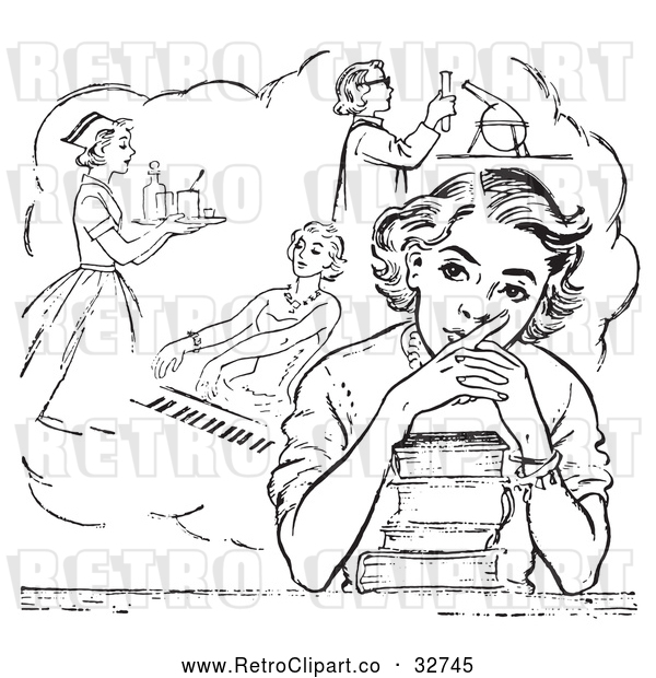 Vector Clip Art of Retro Teen High School Girl Daydreaming of Careers over Books in Black and White