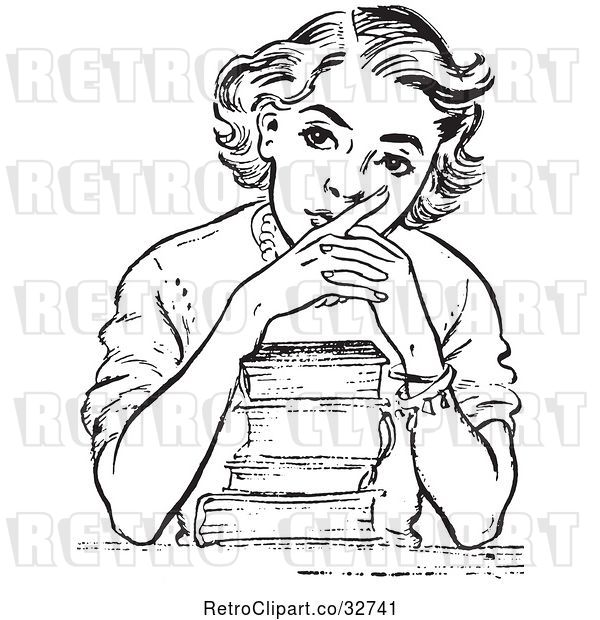 Vector Clip Art of Retro Teen High School Girl Thinking over Books in