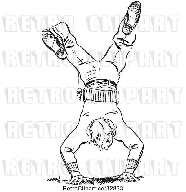 Vector Clip Art of Retro Teenage Boy Break Dancing