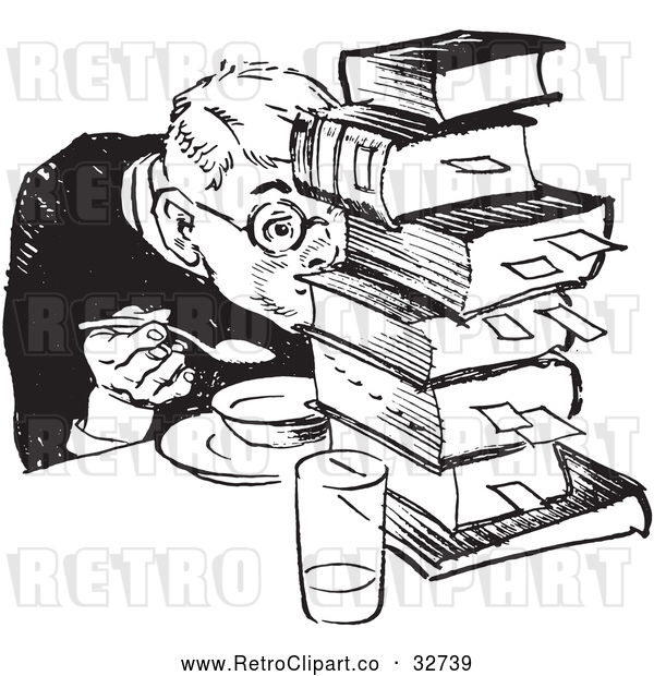 : Vector Clip Art of Retro Teenage Boy Hiding Behind Books While Eating in Black and White