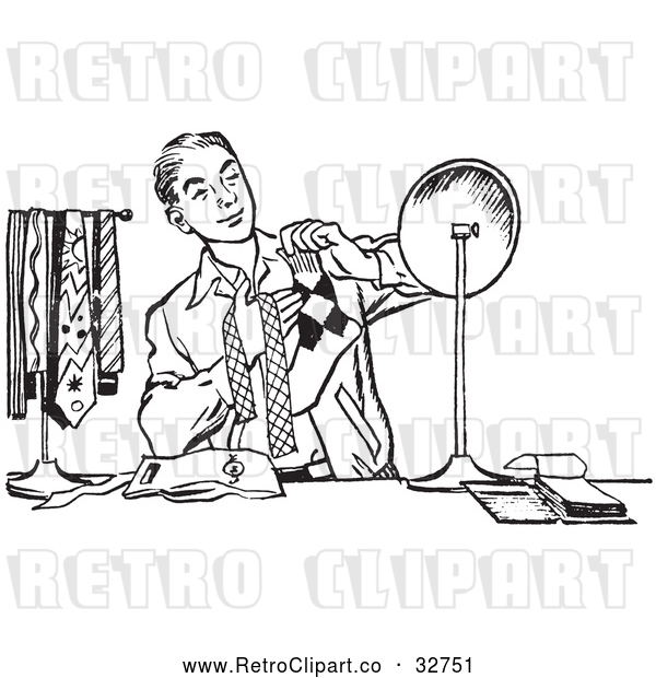 Vector Clip Art of Retro Teenage Boy Matching His Tie with His Socks in Black and White