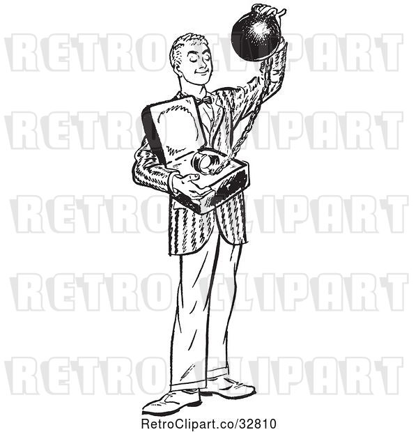 Vector Clip Art of Retro Teenage Boy Offering Commitment As a Ball and Chain in