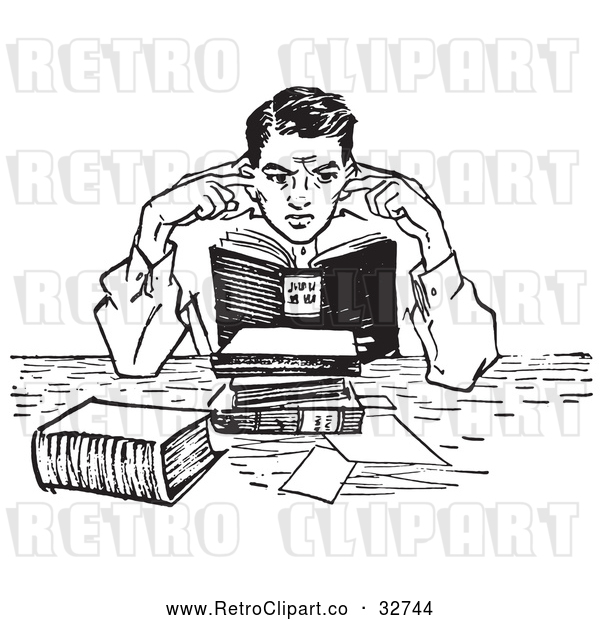 Vector Clip Art of Retro Teenage Boy Plugging His Ears in a Noisy Library in Black and White