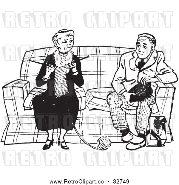 Vector Clip Art of Retro Teenage Boy Talking to a Knitting Lady in Black and White