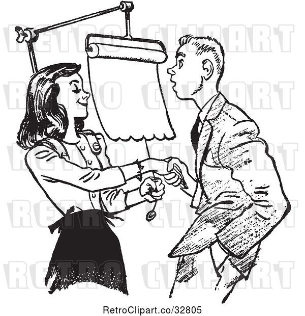 Vector Clip Art of Retro Teenage Couple Going over Dating Rules in