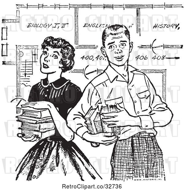 Vector Clip Art of Retro Teenage Couple with Books and School Blueprints in