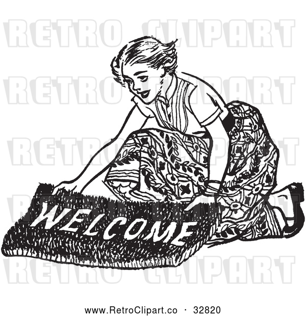 Vector Clip Art of Retro Teenage Girl Laying out a Welcome Mat for Boys