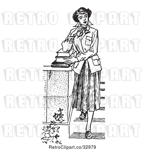 : Vector Clip Art of Retro Teenage Girl Looking Thoughtful and Standing with Books on Steps