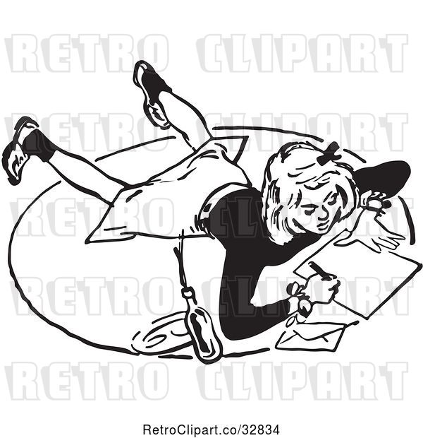 Vector Clip Art of Retro Teenage Girl Writing a Letter on a Floor