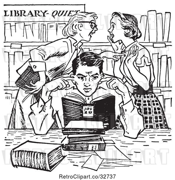 Vector Clip Art of Retro Teenage Girls Gossiping Behind a Boy Covering His Ears in a Library in
