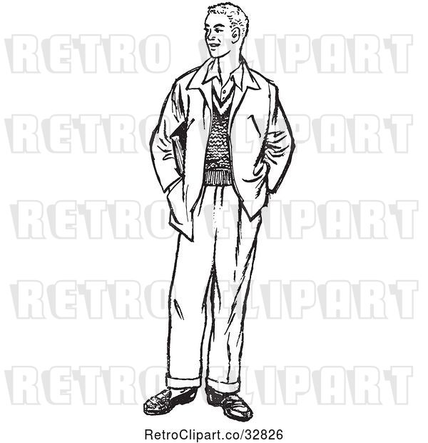 Vector Clip Art of Retro Teenage Guy Standing with His Hands in His Pockets