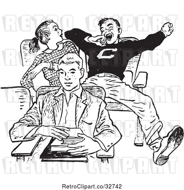 Vector Clip Art of Retro Teenage High School Boy Yawning Rudely in Class in