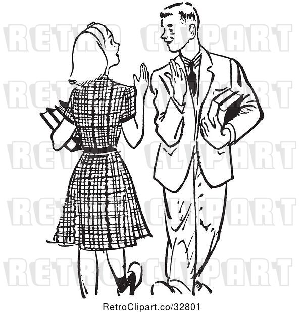 Vector Clip Art of Retro Teenage High School Couple Waving While Passing at School in