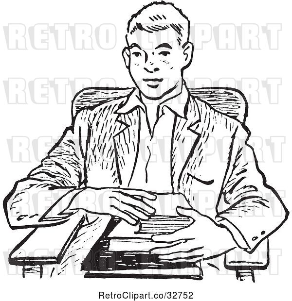 Vector Clip Art of Retro Teenage School Boy with Books at a Desk in