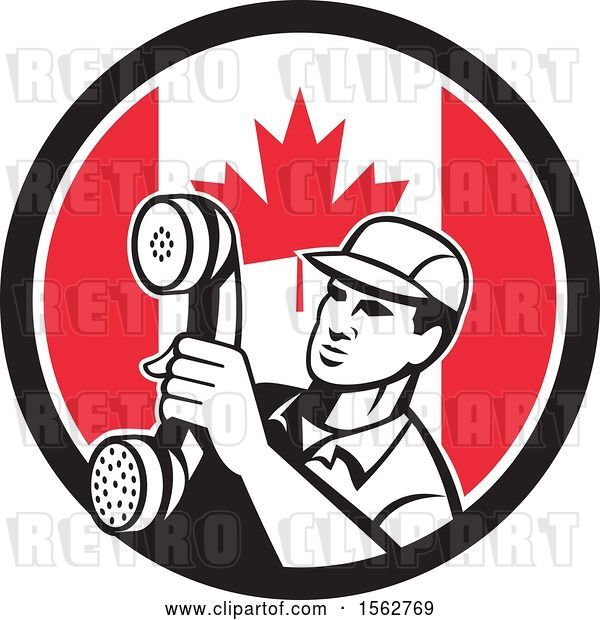 Vector Clip Art of Retro Telephone Repair Guy Holding out a Receiver in a Canadian Flag Circle