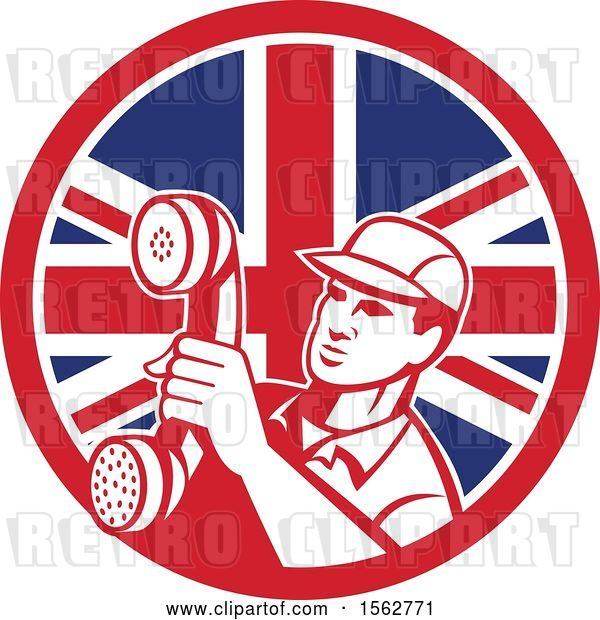 Vector Clip Art of Retro Telephone Repair Guy Holding out a Receiver in a Union Jack Flag Circle