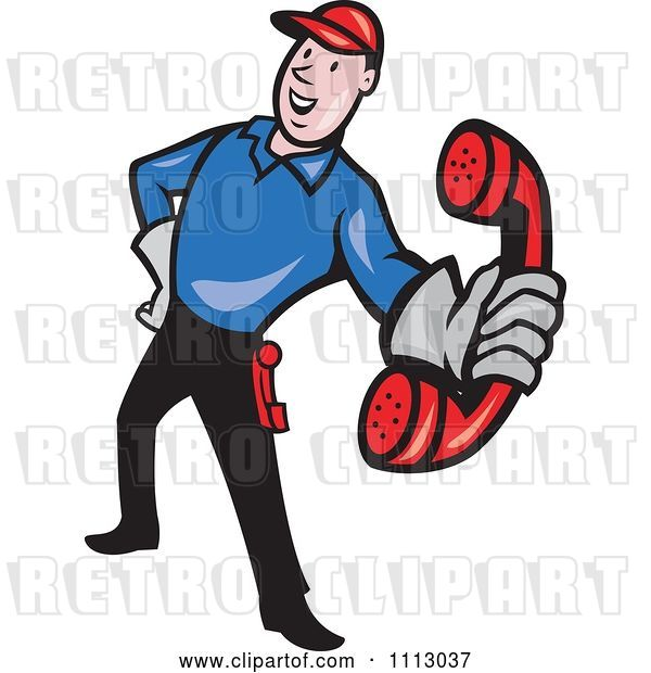 Vector Clip Art of Retro Telephone Repair Guy Holding out a Red Receiver